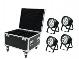 EUROLITE Set 4x LED IP PAR 14x8W QCL + Case