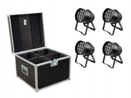 EUROLITE Set 4x LED PAR-64 HCL 12x10W bk + Case