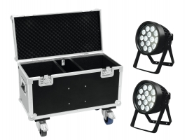 EUROLITE Set 2x LED IP PAR 14x8W QCL + Case with wheels