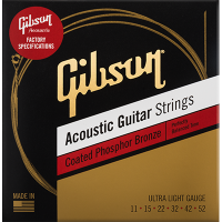 Gibson Coated Phosphor Bronze Acoustic Guitar Strings 011-052