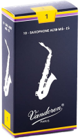 Vandoren SR211 Alto Sax Traditional Reeds Strength 1; Box of 10