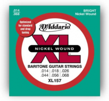 Elektriskās ģitāras stīgas D'Addario XL157 Nickel Wound Electric Guitar Strings, Baritone Medium, 14-68