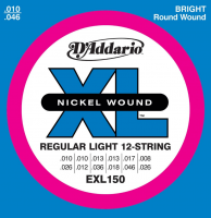 Elektriskās ģitāras stīgas D'Addario EXL150 Nickel XL Electric Guitar Strings 12 String 10-46/26