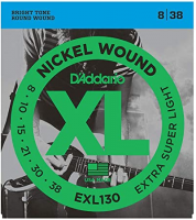 Elektriskās ģitāras stīgas D'Addario EXL130 Nickel Wound Electric Guitar Strings, Extra-Super Light, 8-38