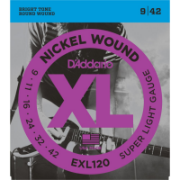 Elektriskās ģitāras stīgas D'Addario EXL120 Nickel Guitar Strings 9-42 Super Light