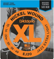 Elektriskās ģitāras stīgas D'Addario Jazz EJ20 Nickel Guitar Strings 10-49 Extra Light w/ Wound 3rd