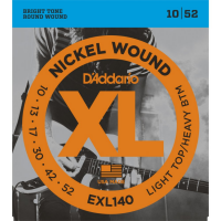 Elektriskās ģitāras stīgas D'Addario EXL140 Nickel Guitar Strings 10-52 Light Top Heavy Bottom