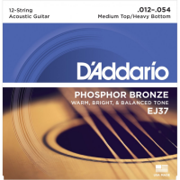 Akustiskās ģitāras stigas D'Addario EJ37 Phosphor Bronze Acoustic Guitar Strings 12-54 12-String Light